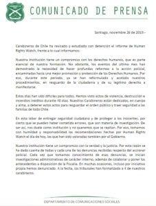 Policía chilena reconoce que debe reformar sus acciones