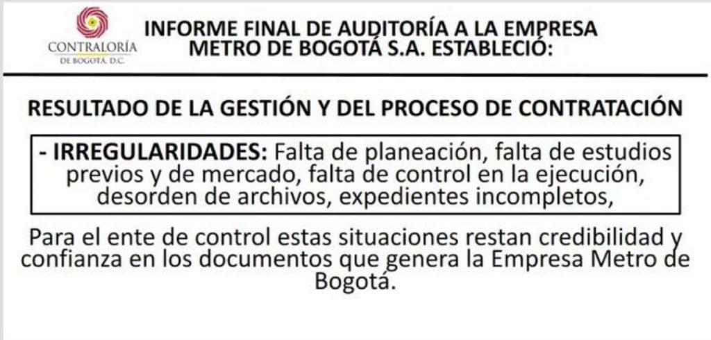 Contraloría revela que hay riesgos en construcción de la primera línea del metro en Bogotá