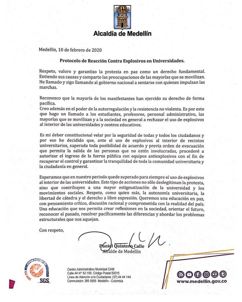La Fuerza Pública podrá entrar en universidades de Medellín