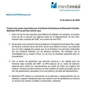 ICBF y Medimás señalados por la muerte de dos niños en Pereira