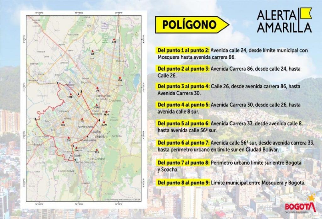 Alcaldía declara alerta amarilla en cinco localidades por la calidad del aire