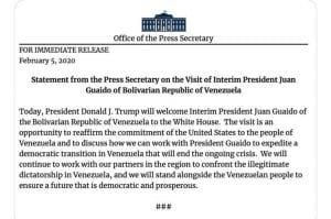 Guaidó y Trump se reunirán hoy en la Casa Blanca