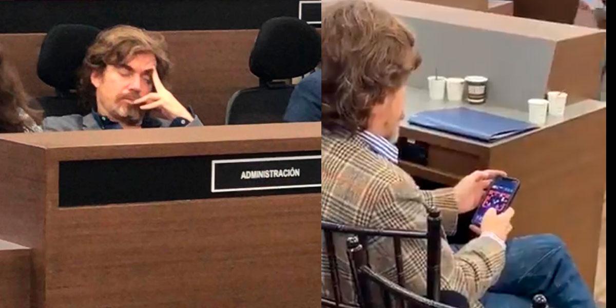 Descubren al secretario de Cultura dormido y jugando en un debate