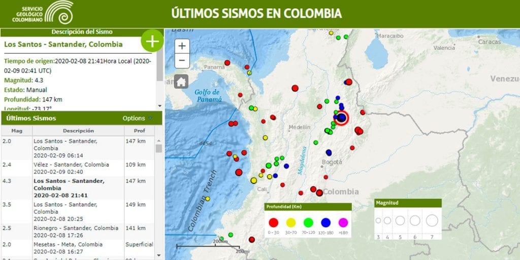 Temblor de magnitud 4.3 se registró en la noche del sábado en Los Santos, Santander