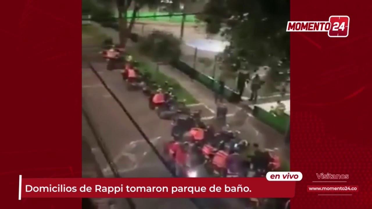 (Video) Domiciliarios toman parque como baño público