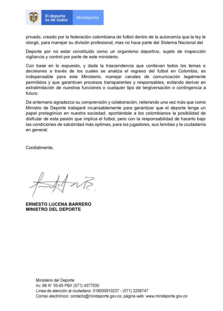 Ministerio del Deporte descarta seguir tratando la reactivación del FPC con la Dimayor