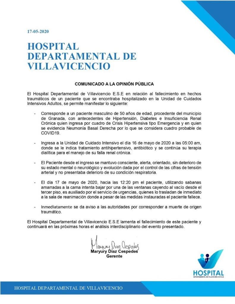 Comunicado Hospital Villavicencio