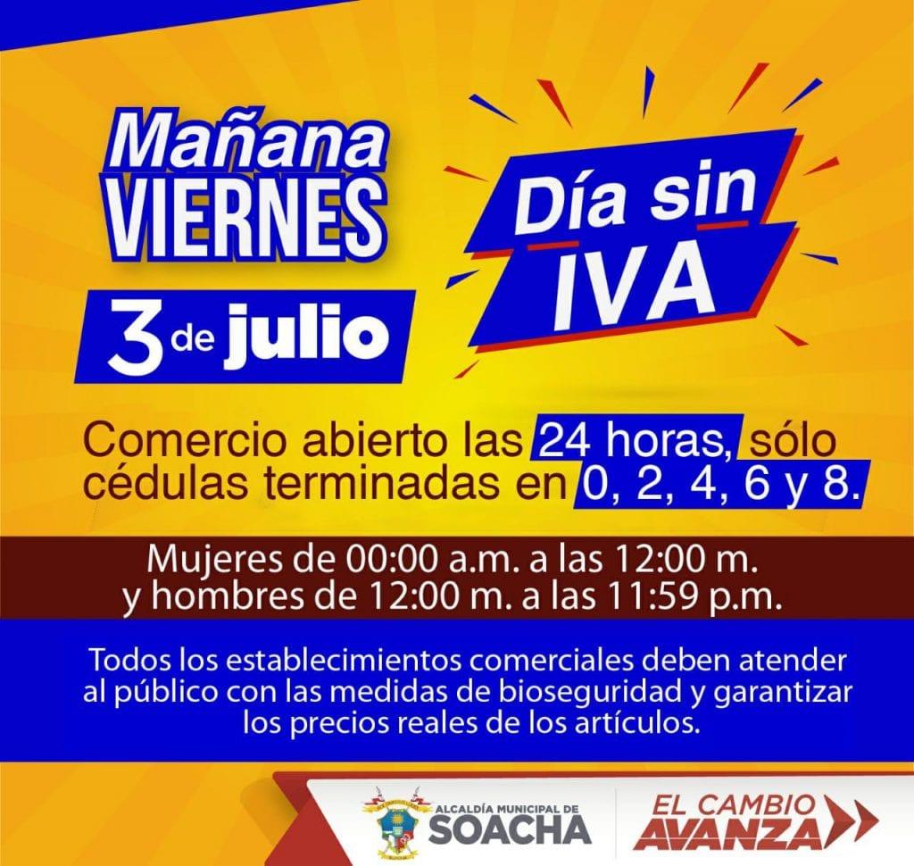 Nuevo Día Sin IVA en Soacha se realizará con pico y cédula