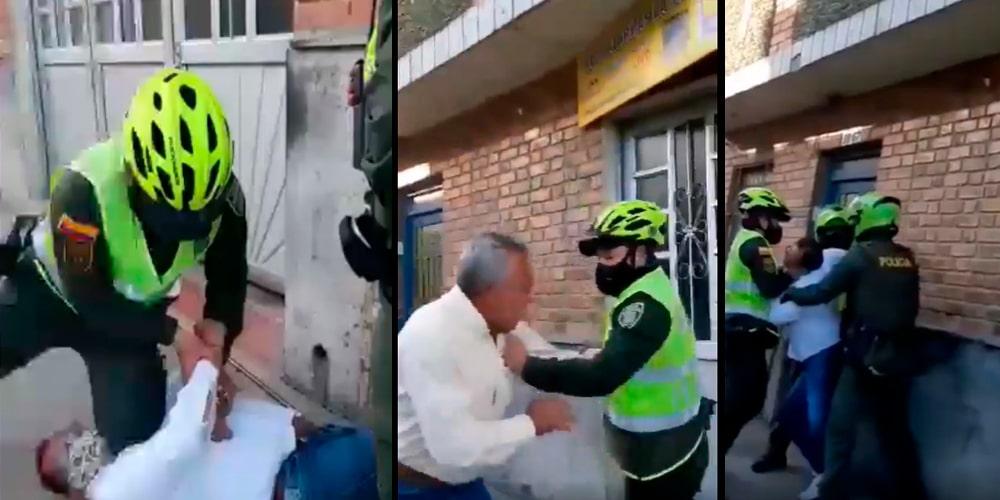pelea policía comunidad