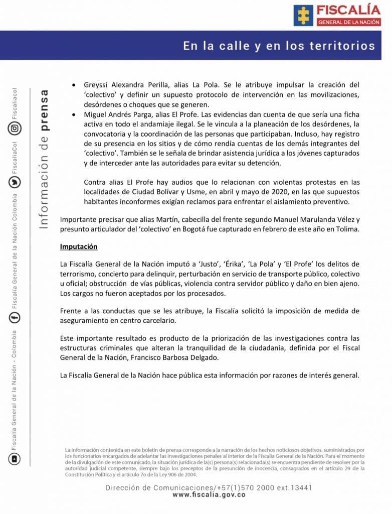 Fiscalía reveló audios que aseguran que hay células terroristas en Bogotá