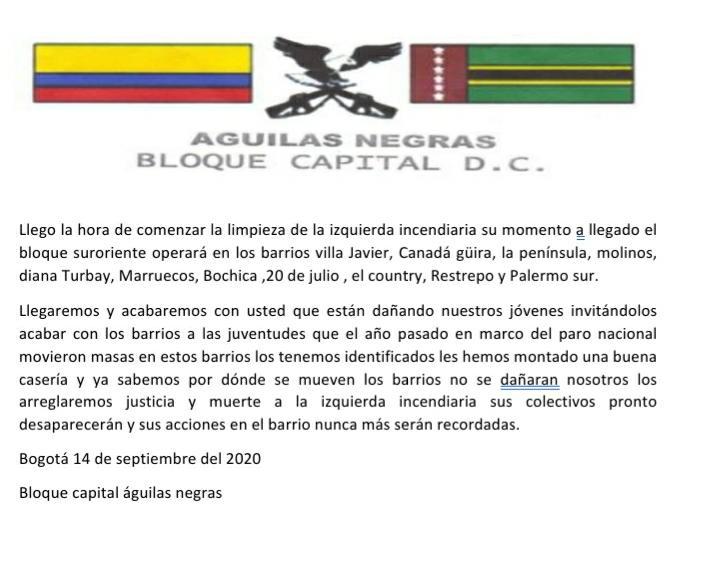 Con panfletos amenazan a líderes sociales en el sur de Bogotá