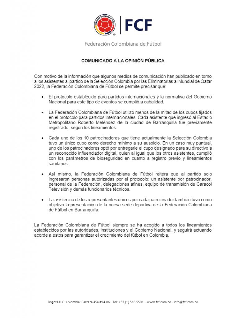 FCF explicó por qué Colombia vs Venezuela tuvo presencia de hinchas pese a prohibiciones