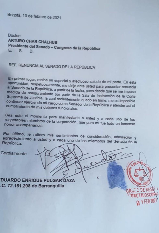Eduardo Pulgar renunció a su cargo en el Senado