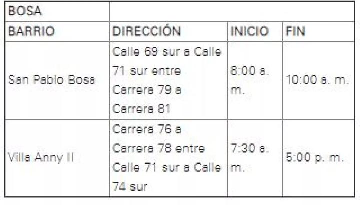 Sin luz se quedarán 22 barrios de Bogotá este miércoles
