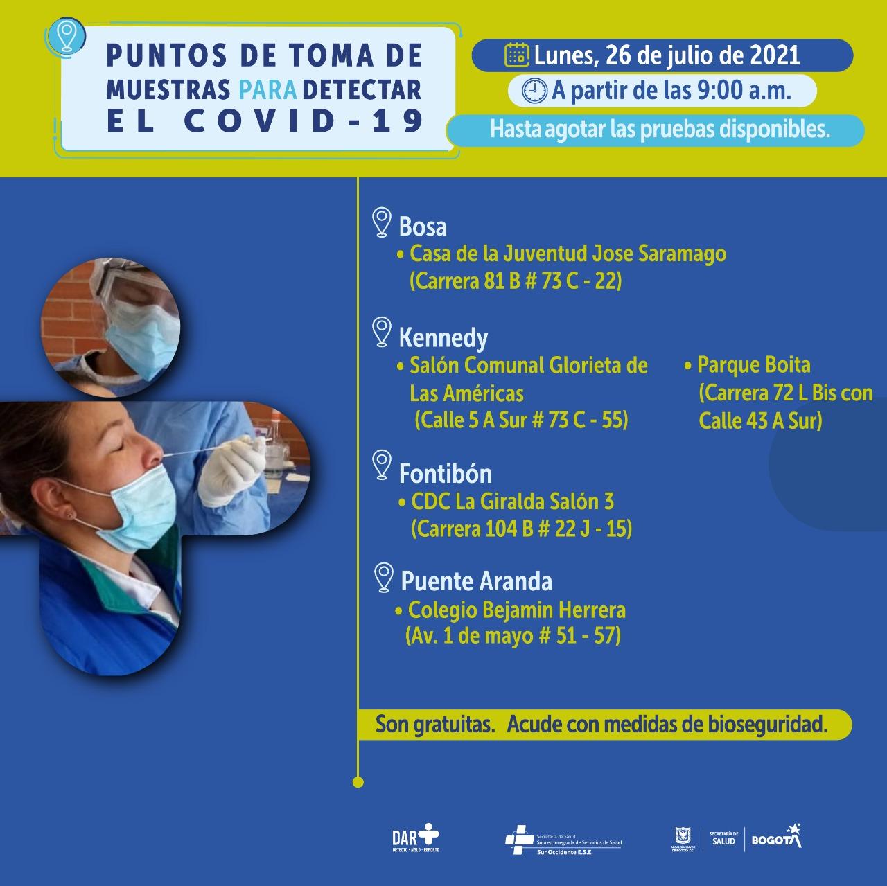 Despliegan puntos de pruebas rápidas Covid en toda Bogotá