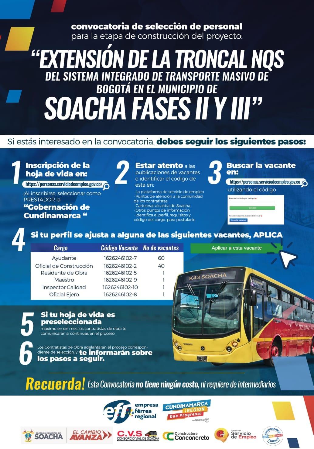 ¡Atento! Habilitan nuevas vacantes en Soacha