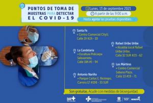 Estos son los puntos de prueba PRC para Covid-19 en Bogotá para este martes