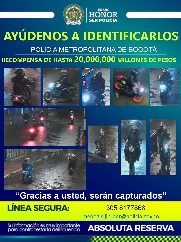 Critican cartel de delincuentes que atracan en moto en Bogotá