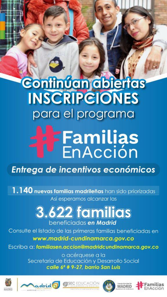 En Madrid se amplían ayudas económicas del programa Familias en Acción
